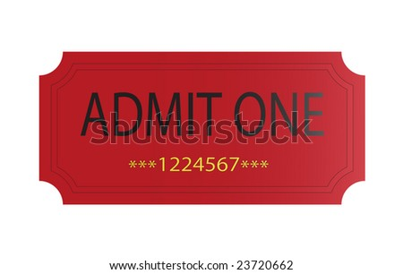 red admit one ticket with serial number - stock photo