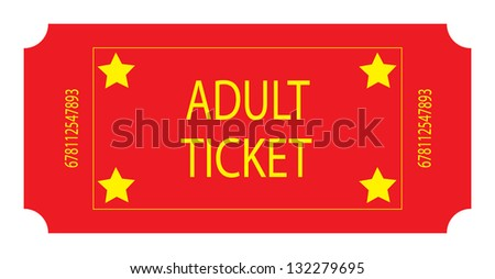 Red Adult Ticket - stock photo