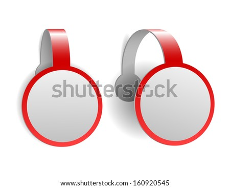 Red advertising wobblers isolated on white background - stock photo