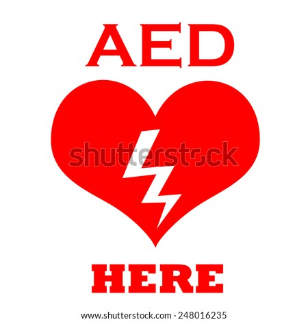 Red AED symbol to indicate a defibrillator location - stock photo