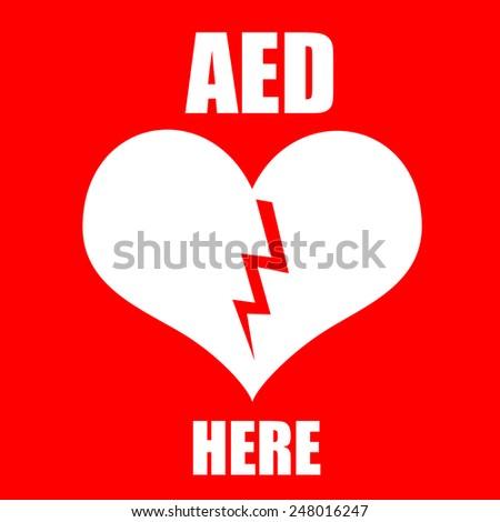 Red Aed Symbol Indicate Defibrillator Location Stock Illustration
