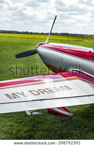 Red aerobatic plane detail on green grass ready to fly - stock photo