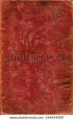 red aged grungy fabric book cover texture with scratches - stock photo