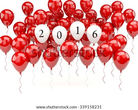 Red air balloons with 2016 New Year sign
