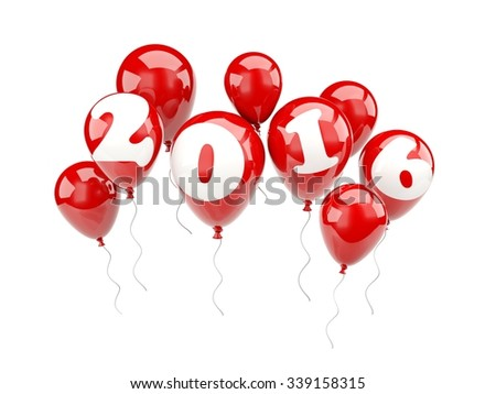 Red air balloons with 2016 New Year sign - stock photo