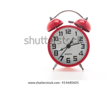 Red alarm and clock isolated on white background - stock photo