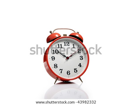 Red alarm clock - stock photo