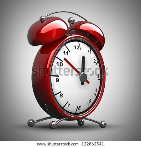 Red alarm clock 3d. High resolution 3d render - stock photo