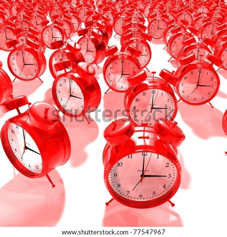red alarm clock group - 3D render - stock photo
