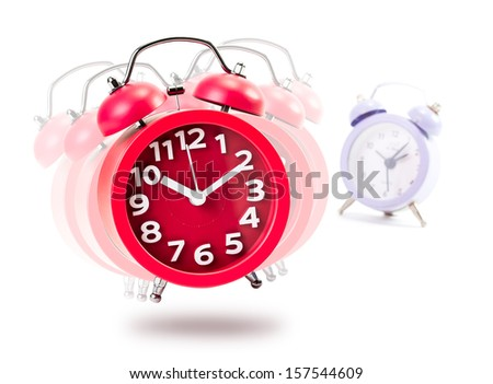 Red Alarm Clock Isolated in White Background - stock photo