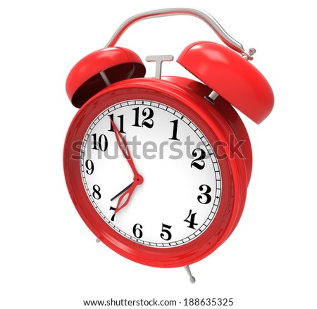 red alarm clock isolated on white background - stock photo