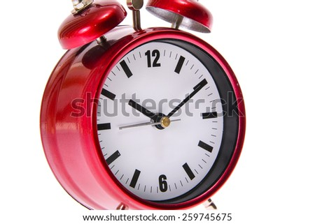 Red Alarm Clock. Isolated on White Background