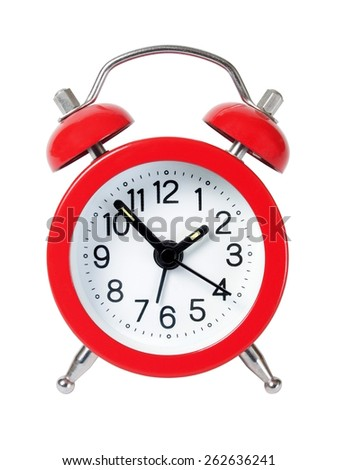 Red alarm clock isolated on white background. - stock photo