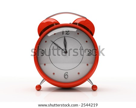 Red alarm clock isolated on white background 3D - stock photo