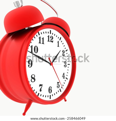 red alarm clock isolated on white background. 3d render - stock photo