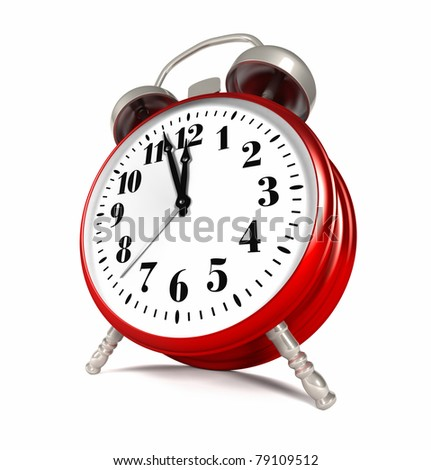 Red alarm clock isolated on white background, 3d render