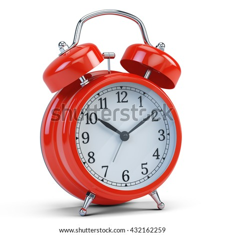 Red alarm clock isolated on white. 3d render - stock photo