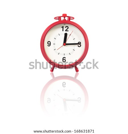Red Alarm Clock on the white background.