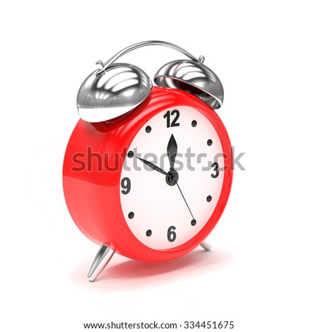 red alarm clock on white