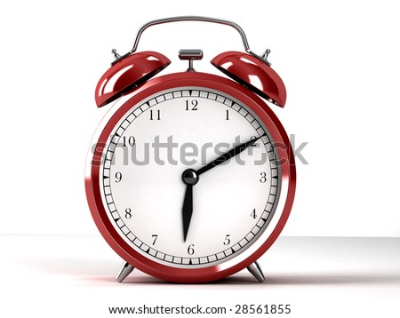 Red alarm-clock on white background