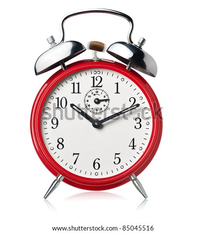 Red alarm clock, ringing, white background. - stock photo