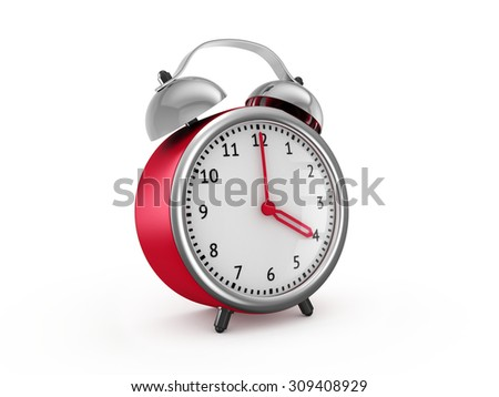 Red alarm clock shows four hours. 3d render isolated on white background