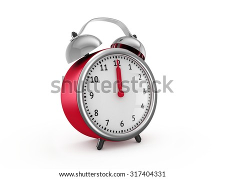 Red alarm clock shows twelve o'clock. 3d render isolated on white background - stock photo