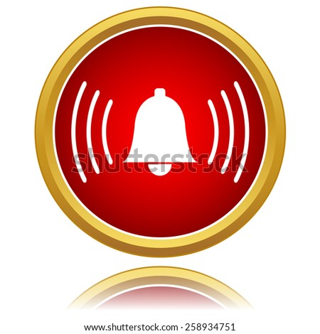 Red alarmclock icon isolated on a white - stock photo