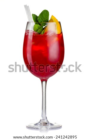Red alcohol cocktail (Hugo) with orange and mint isolated on white. - stock photo