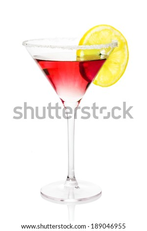Red alcohol cocktail with sugar and lemon isolated on white  - stock photo