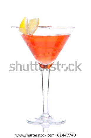 Red alcohol cosmopolitan cocktail decorated with citrus lemon in martini cocktails glass isolated on a white background - stock photo