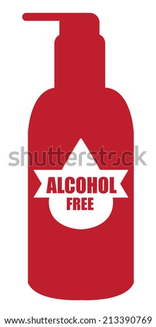 Red Alcohol Free Icon, Label or Cosmetic Container Isolated on White Background  - stock photo