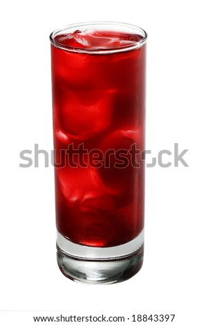 Red Alcoholic Cocktail made of Lychee Liqueur, Pineapple Juice and Cranberries Juice with Ice Cube. Isolated on White Background - stock photo