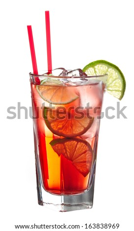 Red alcoholic cocktail (vodka with cranberry juice) decorated with lime - stock photo
