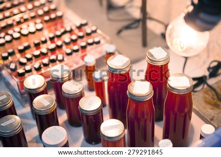 red algae culture in tube - stock photo