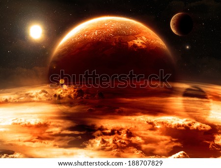 Red Alien World - Elements of this image furnished by NASA - stock photo