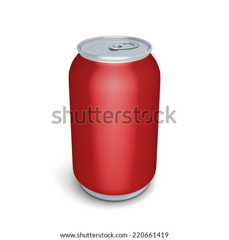 Red aluminum can for soda isolated on white background. Template empty aluminium can for design.