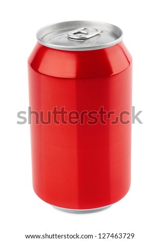Red aluminum can 330 ml isolated on white with clipping path - stock photo