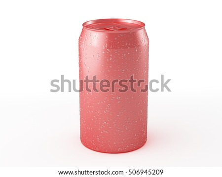 Red aluminum can mockup with condensation drops isolated on white background. Include clipping path. 3d render