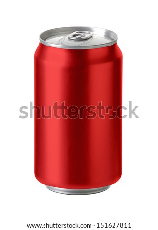 Red aluminum cans with blank copy space, ideal for beer, lager, alcohol, soft drink, soda, lemonade, cola, energy drink, juice, water etc.,  Realistic photo image,