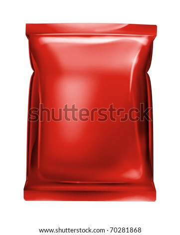 red aluminum foil bag isolated on white background - stock photo