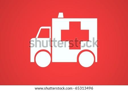 red ambulance - stock photo
