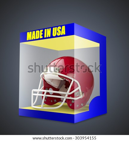 Red American football helmet in transparent box on gray gradient background - stock photo