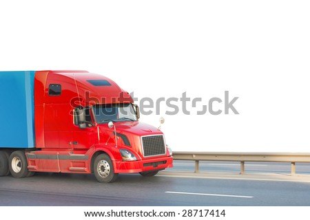 Red american truck - stock photo