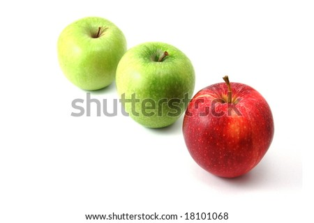 Red an green apples isolated on a white background