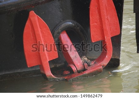 Red Anchor on boat