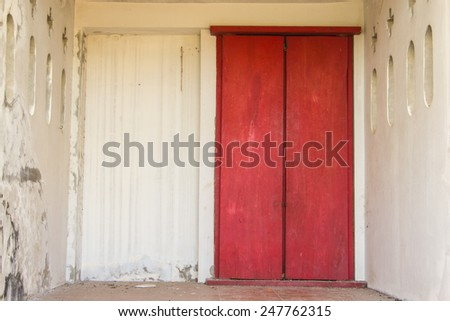 Red Ancient Door in the temple - stock photo