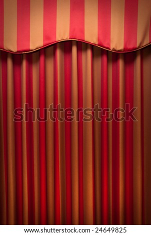 Red and beige striped fabric curtains - stock photo