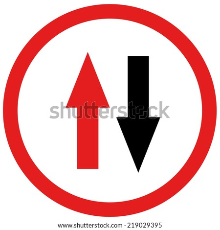 red and black arrow opposite sign board traffic  - stock photo