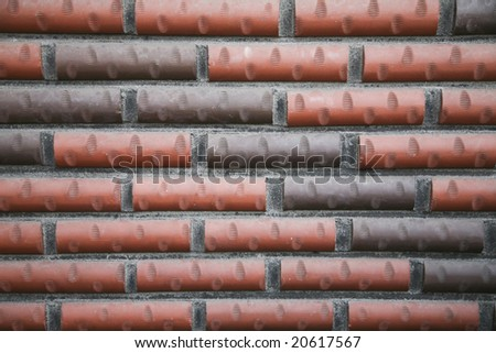 Red and Black Brick Wall - stock photo